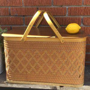 Large Vintage Wicker Picnic Basket 1960's